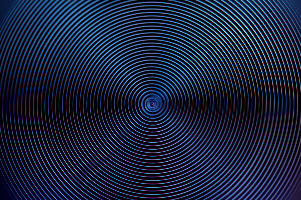 Blue rings motion effect abstract techno background