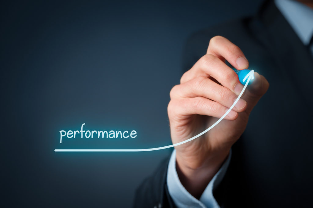 Manager (businessman, coach, leadership) plan to increase company performance.